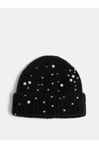 Černá zimní čepice s perličkami Pieces Felia