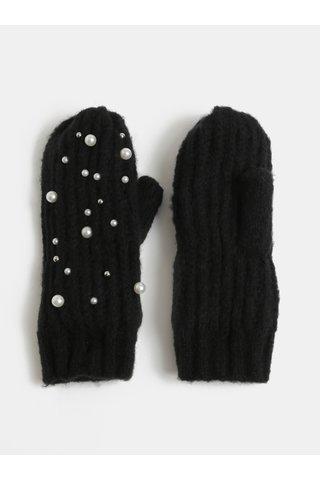 Manusi negre cu un deget si aplicatie cu margele Pieces Felia