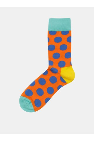 Sosete unisex albastru-oranj cu buline Happy Socks Big Dot Sock