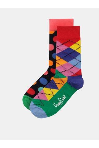 Sada dvou párů dámských vzorovaných ponožek v dárkovém balení Happy Socks Big Dot Cracker