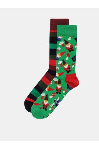 Sada dvou párů pánských ponožek s vánočním motivem v dárkovém balení Happy Socks Candy Cane Cracker