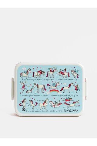 Modro-růžový svačinový box s vyndavací přihrádkou Tyrrell Katz Unicorns