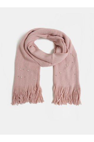 Fular roz deschis impletit cu aplicatie cu margele Pieces Fatula