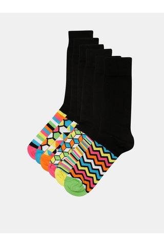 Sada šesti unisex vzorovaných ponožek v černé a žluté barvě Oddsocks Hot Shot