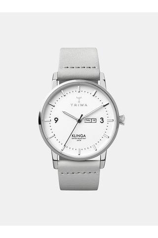 Pánské hodinky se světle šedým koženým páskem TRIWA Snow Klinga