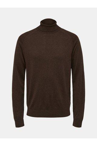 Tmavě hnědý svetr s rolákem z Merino vlny s příměsí hedvábí Selected Homme New Blade