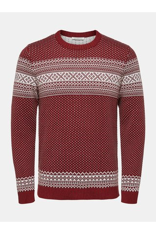 Pulover alb-rosu cu model norvegian Selected Homme Flake