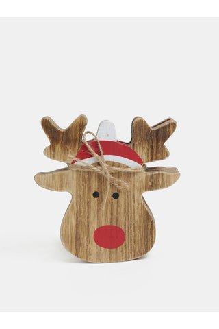 Set de 4 suporturi de pahar din lemn cu motiv ren de Craiun Sass & Belle Rudolf
