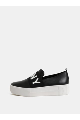 Pantofi slip on negri din piele cu platforma DKNY Alicia