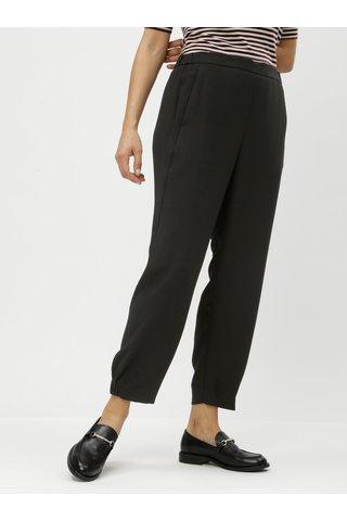 Černé zkrácené kalhoty s gumou na nohavicích a vysokým pasem DKNY