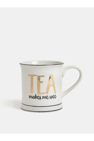 Bílý hrnek s potiskem Sass & Belle Tea Makes Me Wee