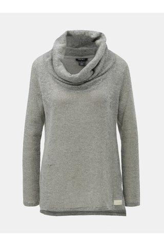 Šedý žíhaný svetr s límcem DKNY