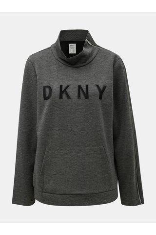Šedá žíhaná mikina se zipem na rukávu DKNY