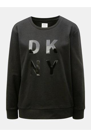 Bluza sport neagra cu logo lucios neted DKNY Crew Neck