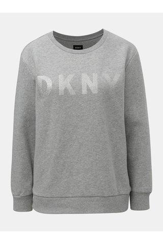Světle šedá žíhaná mikina s potiskem ve stříbrné barvě DKNY