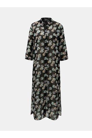Rochie tip camasa neagra florala Jacqueline de Yong Hanna