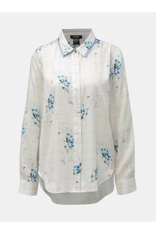 Camasa albastru-alb in carouri florala DKNY