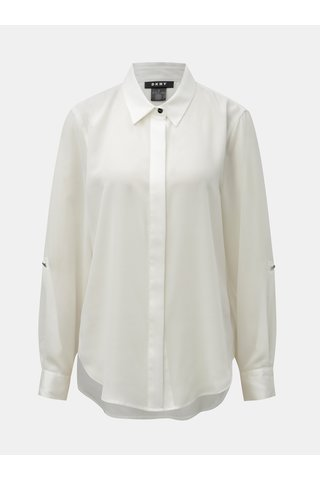 Krémová košile s prodlouženou zadní částí DKNY