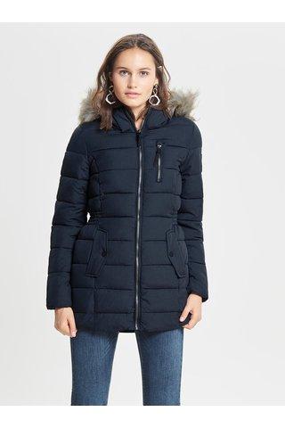 Tmavě modrý zimní kabát s umělým kožíškem ONLY North