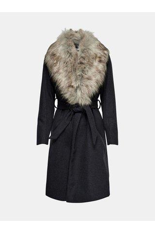 Tmavě šedý žíhaný kabát s onímatelným límcem z umělé kožešiny ONLY Anika