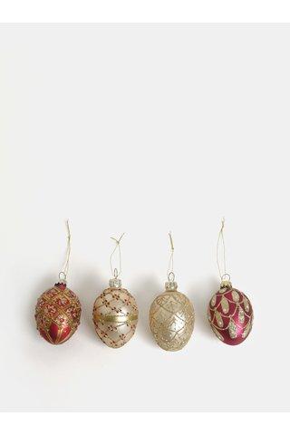 Set de 4 decoratiuni de Craciun auriu si rosu cu model Sass & Belle