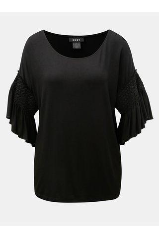 Černé tričko se zvonovým rukávem DKNY