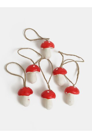 Set de 6 decoratiuni de Craciun in forma de muscarita Sass & Belle Forest Toadstool