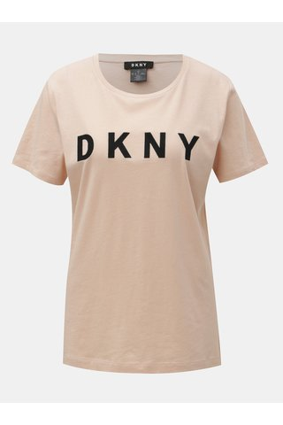 Starorůžové tričko s nášivkou loga DKNY