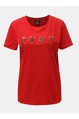 Červené tričko s logem z flitrů DKNY