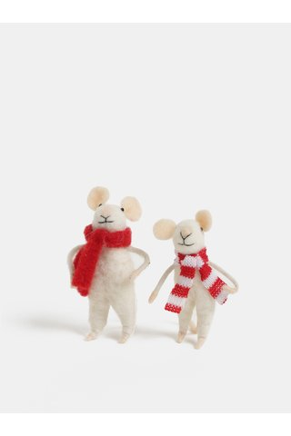Decoratie de Craciun in forma de doua soareci Sass & Belle Family Christmas Mice