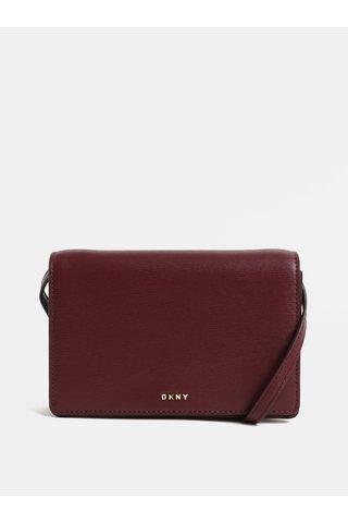 Vínová kožená malá crossbody kabelka DKNY