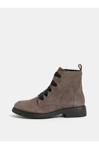 Béžové semišové kotníkové boty OJJU