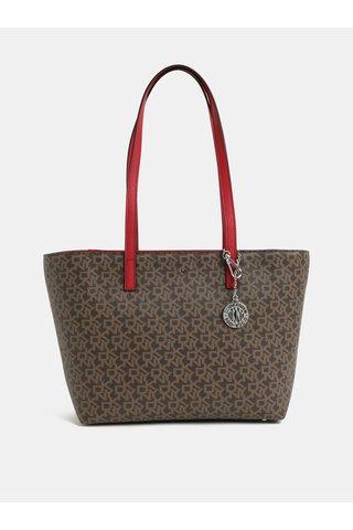 Červeno-hnědá kabelka s logem DKNY
