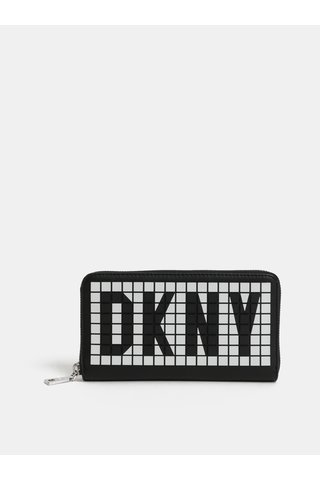 Portofel alb-negru cu logo 3D DKNY Tilly