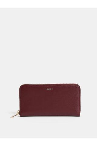 Vínová kožená peněženka DKNY