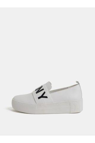 Pantofi slip on albi din piele cu platforma DKNY Alicia