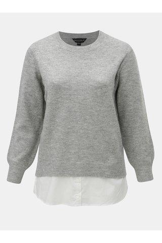 Světle šedý žíhaný svetr s všitou košilovou částí Dorothy Perkins Curve