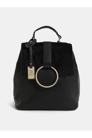 Rucsac negru cu blana artificiala si detalii aurii Bessie London