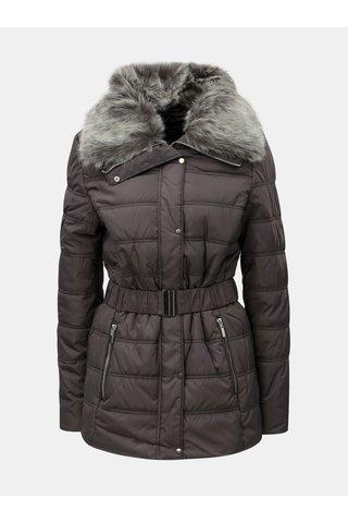 Jacheta gri matlasata de iarna cu blana artificiala Dorothy Perkins Tall