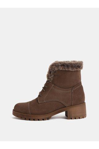 Hnědé semišové kotníkové boty s umělým kožíškem OJJU