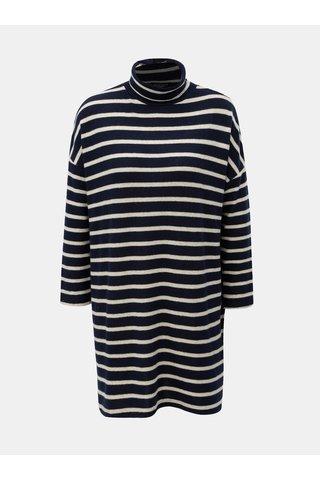 Rochie alb-albastru tricotata in dungi cu guler inalt Dorothy Perkins