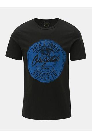 Tricou negru cu imprimeu Jack & Jones Rejistood