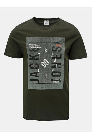Tricou verde cu imprimeu Jack & Jones Denim