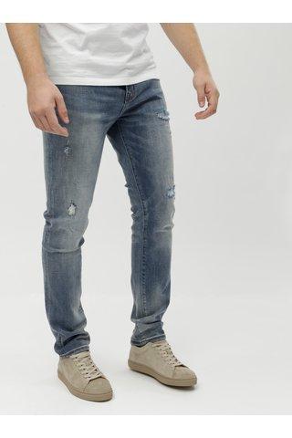 Modré pánské džíny s potrhaným efektem Superdry