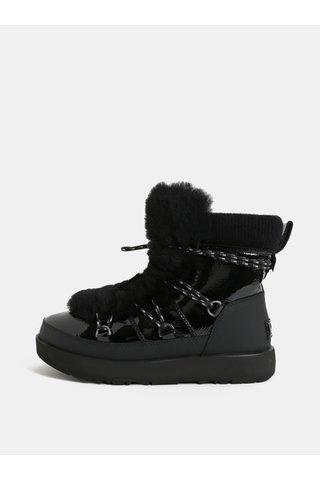 Černé voděodolné kožené zimní boty s kožíškem UGG Highland