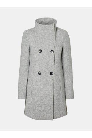 Světle šedý žíhaný kabát s límcem a s příměsí vlny VERO MODA Line