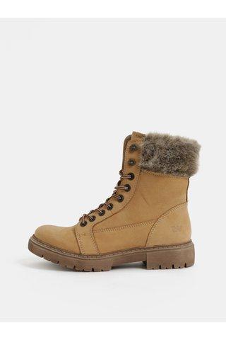 Světle hnědé dámské zimní kožené kotníkové boty s kožíškem Weinbrenner