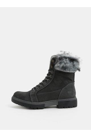 Šedé dámské zimní kožené kotníkové boty s kožíškem Weinbrenner