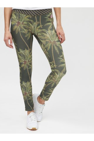 Leggings verzi cu imprimeu tropical Femi Stories