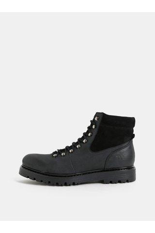 Černo-šedé dámské kožené kotníkové zimní boty se semišovými detaily Weinbrenner